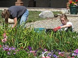 The girls worked hard weeding the flower bed