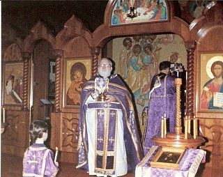 Serving as a Deacon at a Pre-Sanctified Liturgy during Great Lent, 1988, with Fr Tom Edwards. The altar boy is Sean!