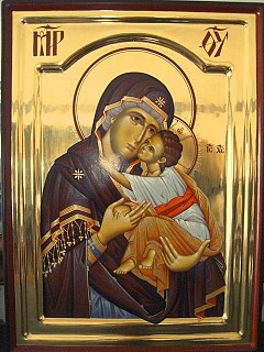 Icon of Theotokos by hands of Visoki Decani Monastery located in the UN administered Serbian Province of Kosovo and Metohia.